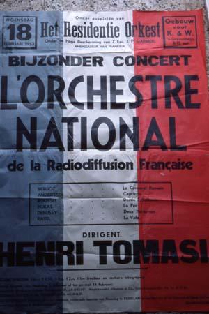 Affiche pour un concert de l'Orchestre National, dirigé par Henri Tomasi lors d'une tournée aux Pays-Bas - 1953