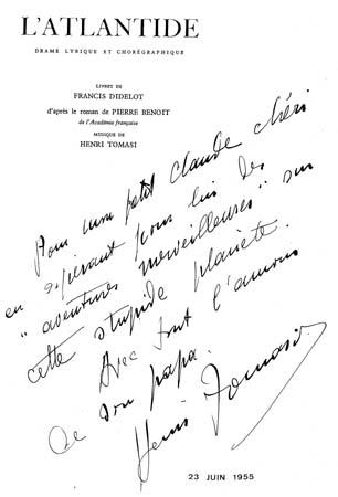 Dédicace d'Henri Tomasi à son fils Claude, âgé de 11 ans, sur un programme de l'Atlantide, deuxième opéra du compositeur - 1955
