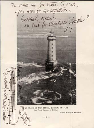 Mentions autographes d'Henri Tomasi sur une photo du phare de Kéréon lors d'un séjour sur l'Ile d'Ouessant - 1964