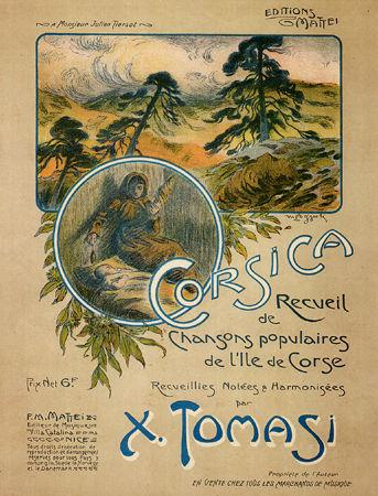 """Couverture du recueil de chansons populaires """"Corsica"""", publié en 1914 par Xavier Tomasi, père du compositeur - Peintre : Gab. Gras"""