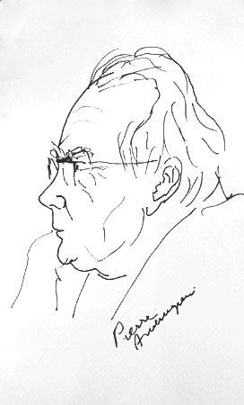 Portrait d'Henri Tomasi par le peintre Pierre Ambrogiani (Profil) - 1969