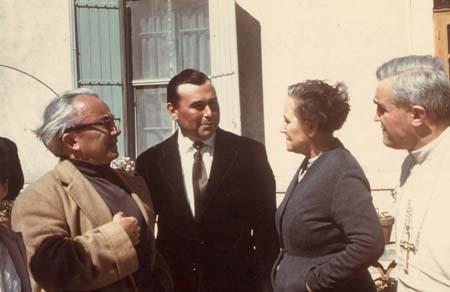 H. Tomasi à Maillanne avec Marie Mauron et le P. Norbert Calmels - 1961
