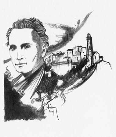 Dessin du peintre Chisa en hommage à Henri Tomasi pour la célébration du centenaire de 2001 en Corse