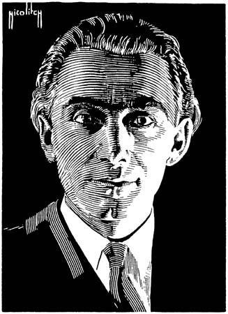 Portrait d'Henri Tomasi, carton gratté original d'Obrad Nicolitch