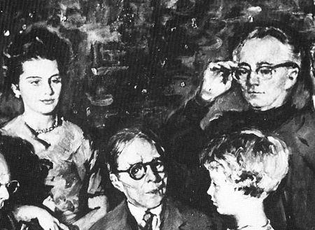 Détail du portrait collectif de Ferran Callico en hommage à Pablo Casals, Henri Tomasi réajustant ses lunettes auditives - 1962
