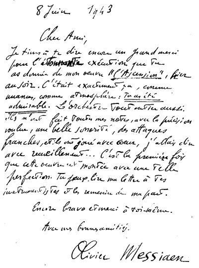 "Lettre de félicitations d'Olivier Messiaen à Henri Tomasi pour sa direction de ""L'Ascension"" - 1943"