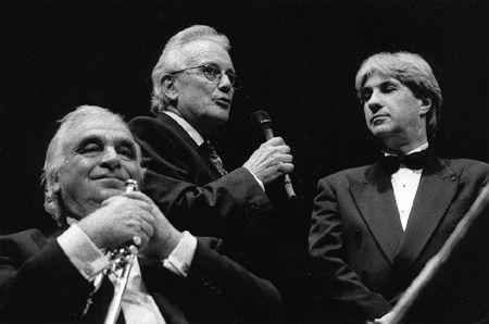 Centenaire 2001 : Hommage - Parc Chanot, Marseille - Maurice André (à gauche), Jacques Bonnadier, Philip Bride (ph. JM Legros)