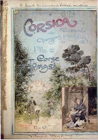 """Projet de couverture du recueil de chansons populaires """"Corsica"""", établi par Xavier Tomasi - Peintre : Gab. Gras"""